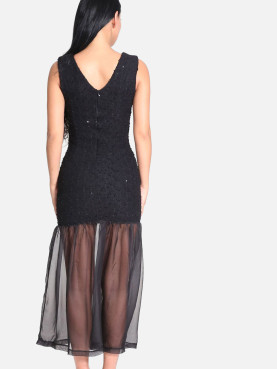 Sheer Mesh Fishtail Hem Sequins Embellished Bodycon Maxi Dress