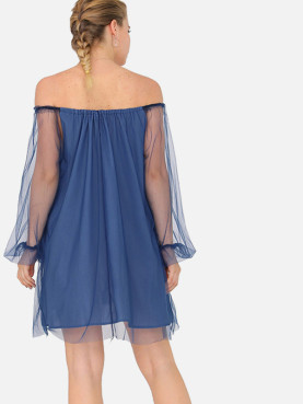 Mesh Overlay Mini Off Shoulder Dress with Ballon Sleeves