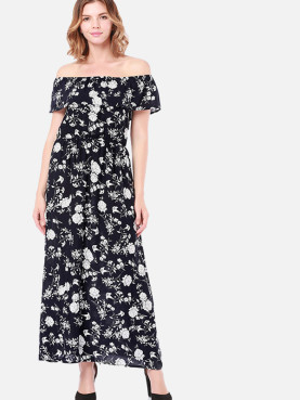 Double Layer Off Shoulder Maxi Dress In Floral Print
