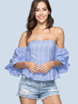 Ruffled Hem Off Shoulder Striped Shirt