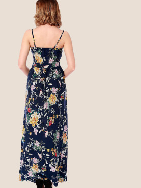 Bow Tie Front Split Side Botanical Print Maxi Cami Dress