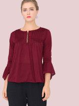 Plus Size Button Front Fluted Sleeve Pleated T-Shirt with Sheer Fabric