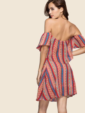 Sexy Casual Backless Slash Neck Striped Dress