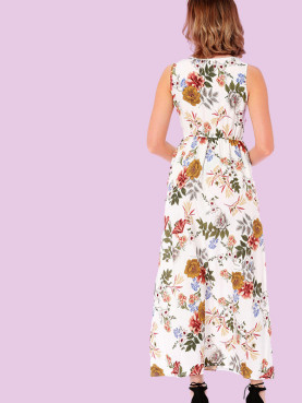 Eyelet Detail Botanical Print Maxi Tank Dress(Not Includ Necklace)