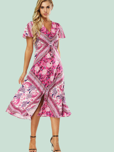 OneBling Calico Print Midi Shirt Dress with Flutter Sleeve and Plunge Neck