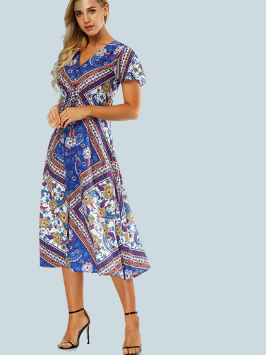 OneBling Flutter Sleeve Button Front Shirt Midi Dress with Ornate Print