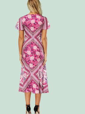Calico Print Midi Shirt Dress with Flutter Sleeve and Plunge Neck