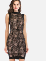 OneBling Embroidery Mesh Overlay Mock Neck Zip-Back Contrast Dress with Fringe Sequins