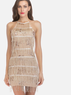 Cross Back High Neck Tiered Fringe Pencil Dress with Sequins Embellishment