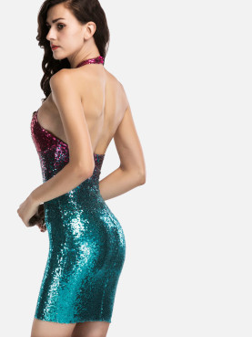 Cross Front Halter Neck Two Tone Sequins Bodycon Mini Dress
