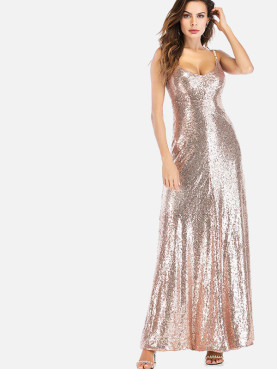 Open Back Low Collar Maxi Cami Dress In Sequins