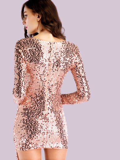 OneBling Wrap Front Double Asymmetric Hem Long Sleeve Mini Pencil Dress with Sequins Embellishment
