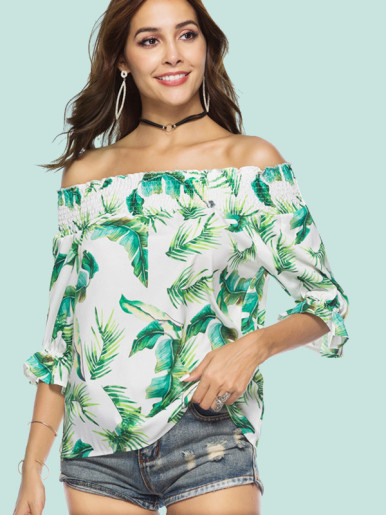OneBling Tropical Print Slash Neck Half Sleeve Blouse
