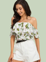 Botanical Print Off Shoulder Crop Tops with Ruffles Detail