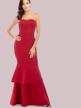 Double Ruffles Hem Maxi Bandeau Dress