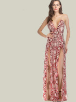 OneBling Scalloped Trim Cross Back Deep Plunge Maxi Dress with Sequins Embellishment and Double Split
