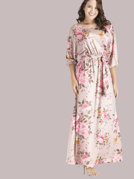 Plus Size Raglan Sleeve Floral Printed Maxi Dress with Belt