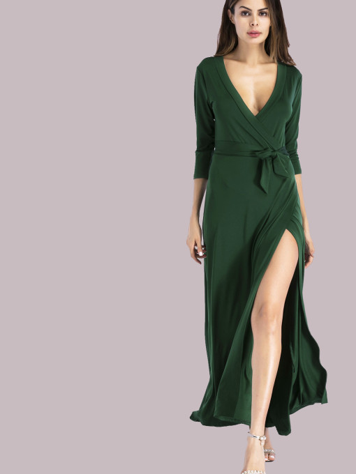3/4 Sleeve Plunge Neck Wrap Maxi Dress