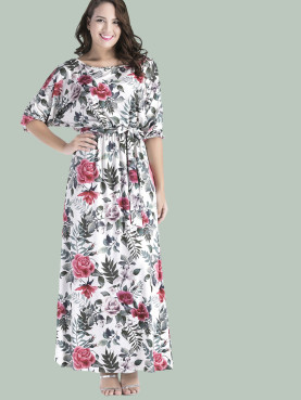 Plus Size Boat Neck Mixed Printed Maxi Dress with Belt