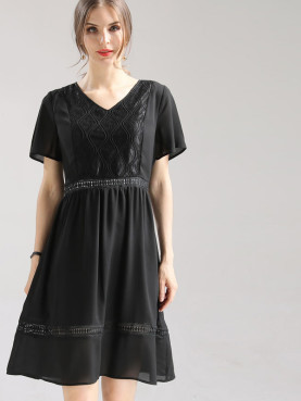 Plus Size Flutter Sleeve Lace Insert Midi Skater Dress