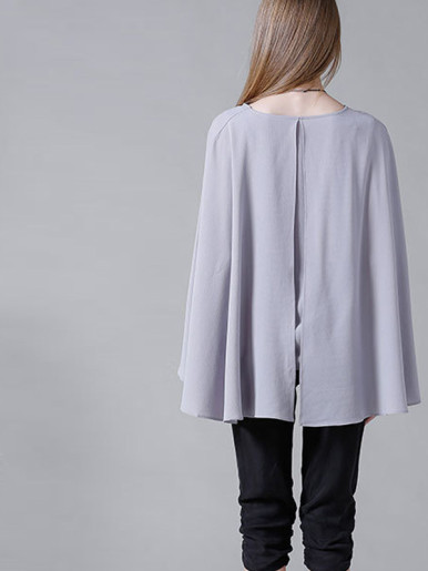 OneBling Split Back Asymmetric Cape Layer Blouses