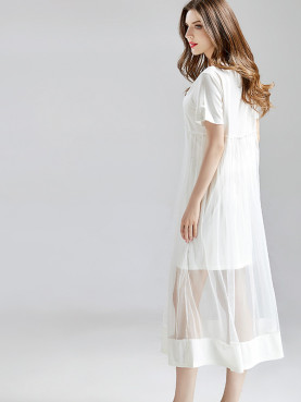 Sheer Mesh Layer Tee Dress with Frill Detail