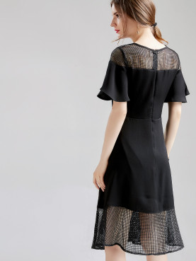 Plus Size Flutter Sleeve Fishnet Insert Midi Smock Dress with Peplum Hem