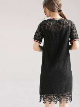 Plus Size 2 In 1 Lace Dress with Contrast Tipping