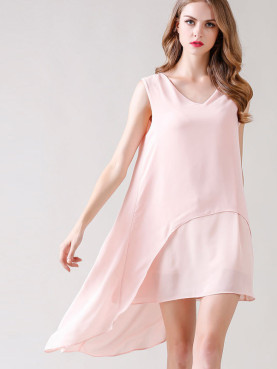 Sleeveless V-Neck Asymmetric Mini Dress with Double Layer