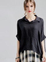 Batwing Sleeve Dip Hem Black Blouses with Draped
