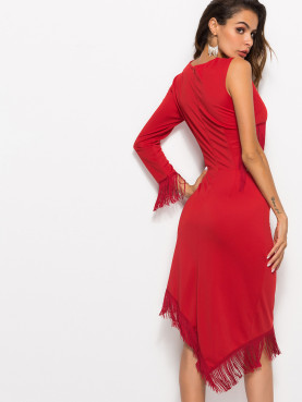 Asymmetric Hem Tassels Trim Midi Dress with One Sleeve and Cut Out Detail