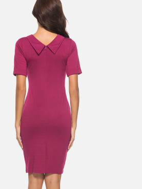 Rolled Sleeve V-Neck Work Pencil Dress