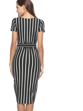 Contrast Striped Pencil Dress with Belt