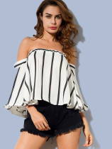 OneBling Exaggerated Trumpet Sleeve Striped Off The Shoulder Blouses