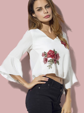 Draped Back Fluted Sleeve Embroidery Crop Tops