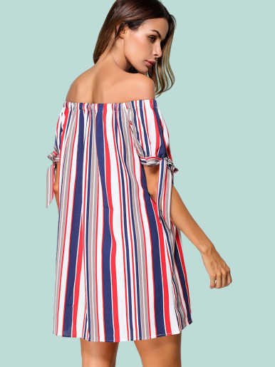 OneBling Tie Sleeve Colorful Striped Bardot Dress