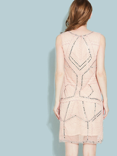 OneBling Sleeveless Sequins and Beaded Embellished Mini Dress