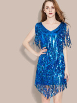 OneBling Metallic Sequins Pencil Dress with Tassels Fringe