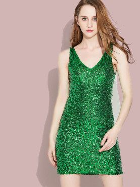 Sleeveless Double V Collar Sequins Pencil Dress