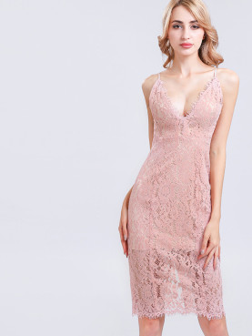Eyelash Lace Trim Split Back Deep Plunge Midi Pencil Dress
