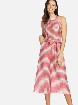 Sleeveless Cropped Wide Leg Halter Jumpsuit In Striped Print with Pockets