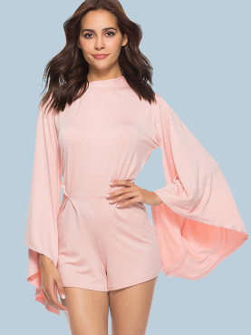 Exaggerated Sleeve Mock Neck Tie Back Playsuit