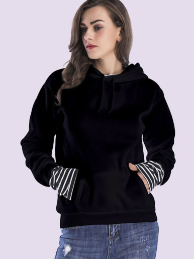 Kangaroo Pocket Striped Contrast Fleece Hoodies