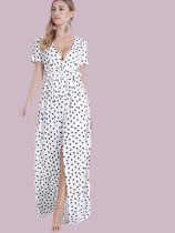 OneBling Short Sleeve Maxi Wrap Dress In Spot Print with Belt
