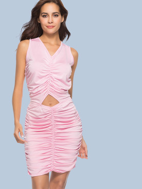 Ruched Gathered Sleeveless Bodycon Dress with Cut Out