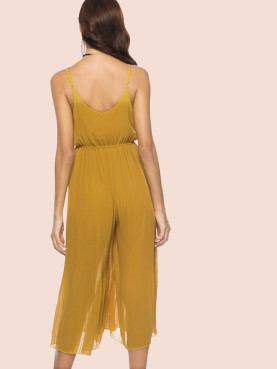 Beaded Detail Wrap Front Pleated Cropped Jumpsuits