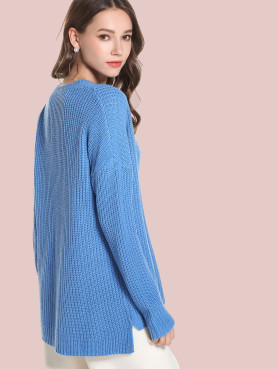 Stepped Hem Textured Knit Drop Shoulder Sweater