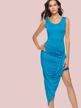 Ruched and Draped Detail Scoop Neck Sleeveless Asymmetric Dress