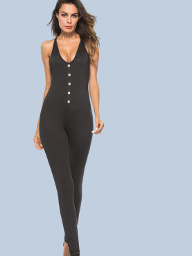 Button Front Cross Back Plunge Neck Skinny Jumpsuit