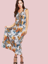 Floral Print Tie Neck Ruffles Detail Maxi Dress
